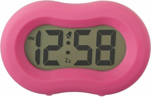 Acctim Vierra Alarm Clock With Soft Touch Silicon Rubber Casing In Hot Pink